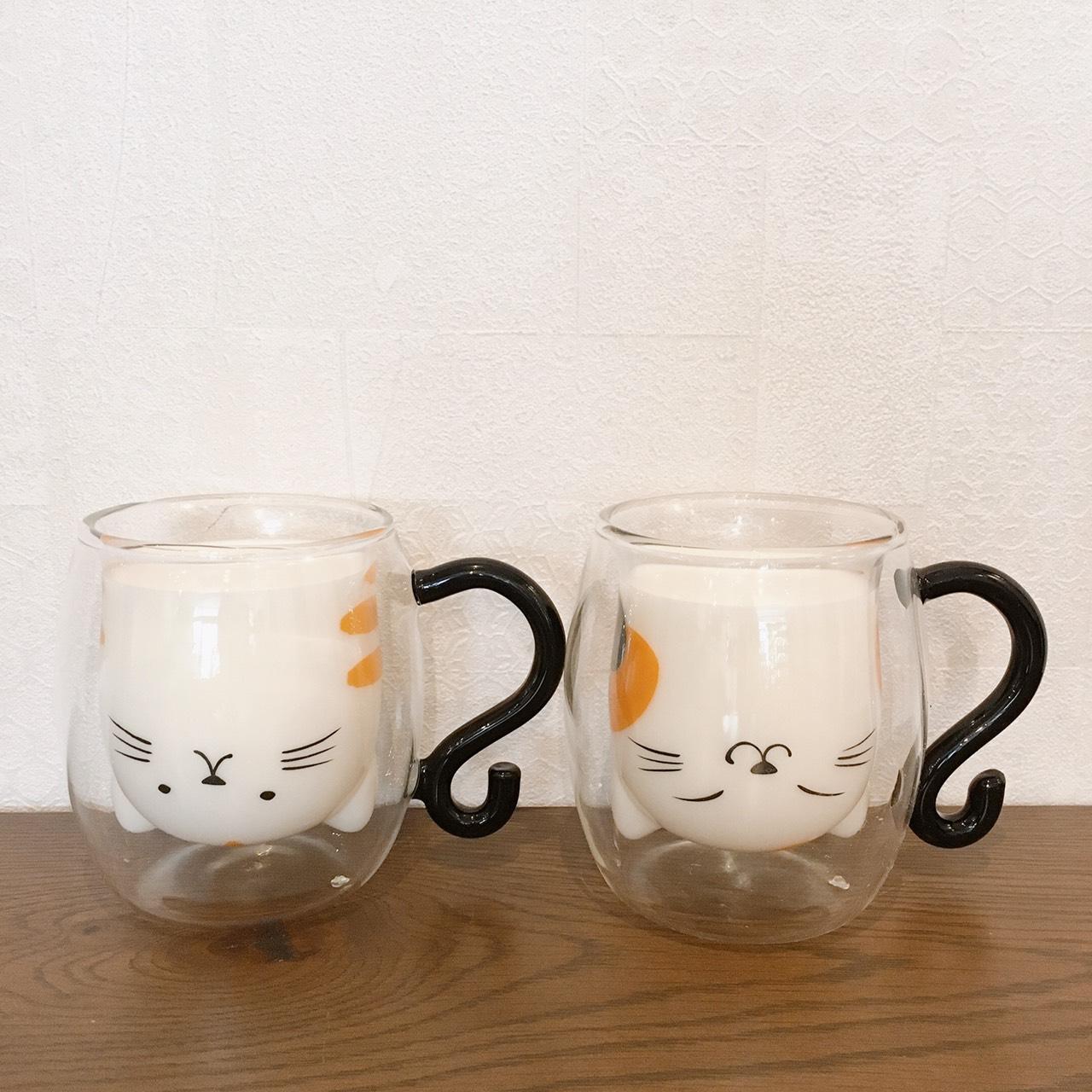 猫のガラス製カップのメイン画像