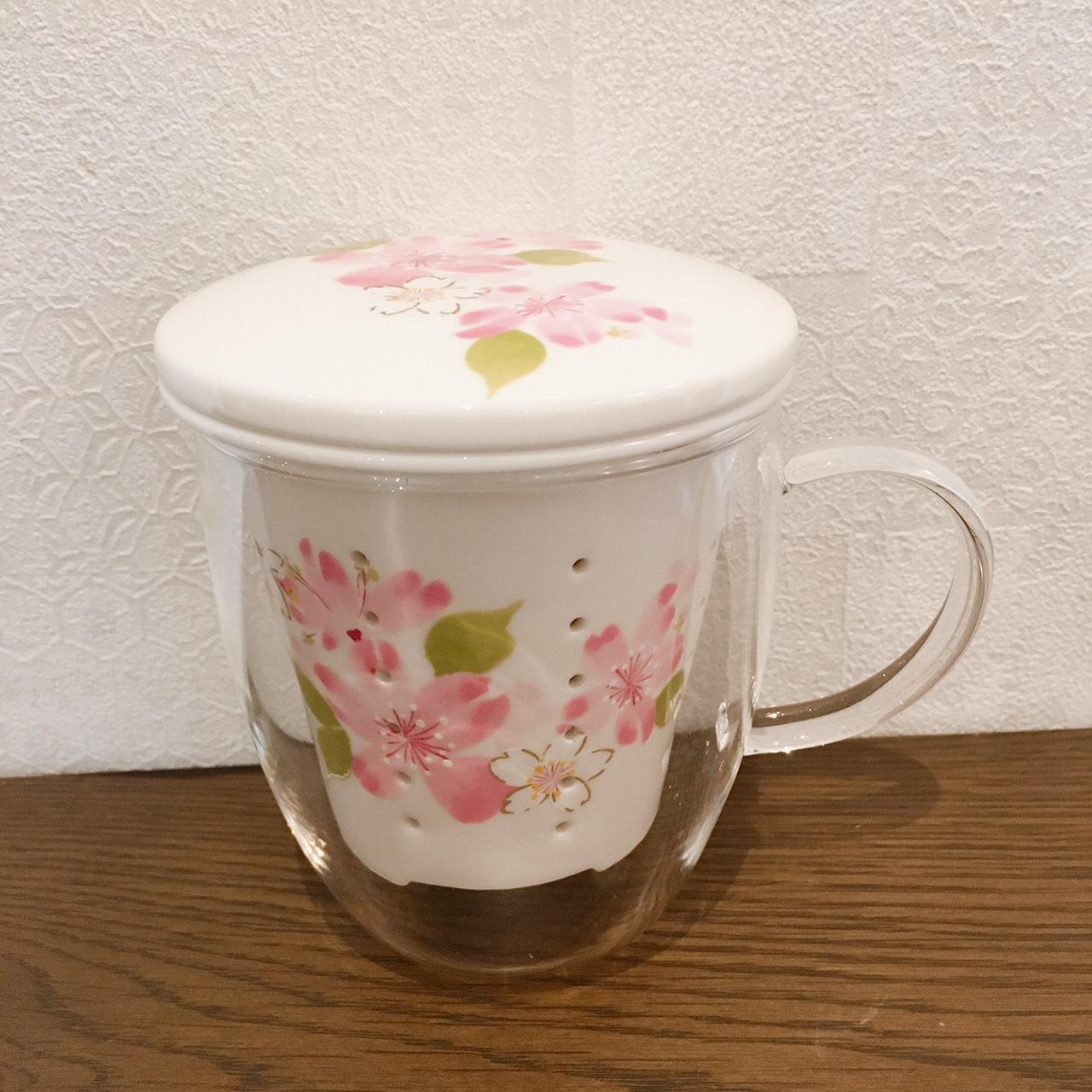 花柄の蓋付ガラスマグカップのメイン画像